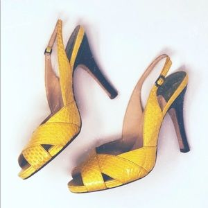 Beautiful Yellow Cole Haan Slingback Peep Toe Heel